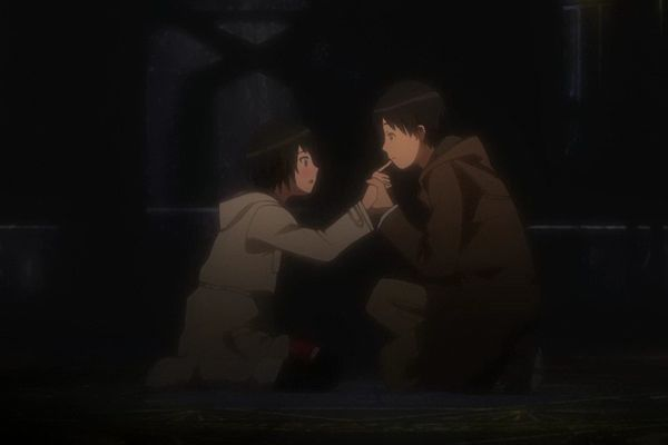 Boy sucking girl's finger, from the anime Amagami SS