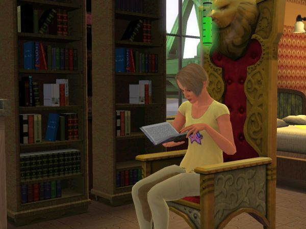 Screenshot Sims 3 - sim reading a book