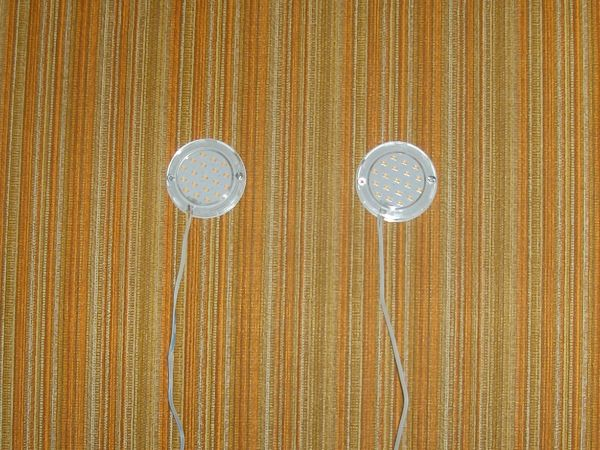 Two circular LED lights with 19 diodes each