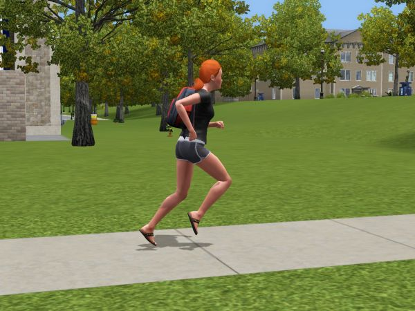 Screenshot Sims 3 University Life - jogging female student