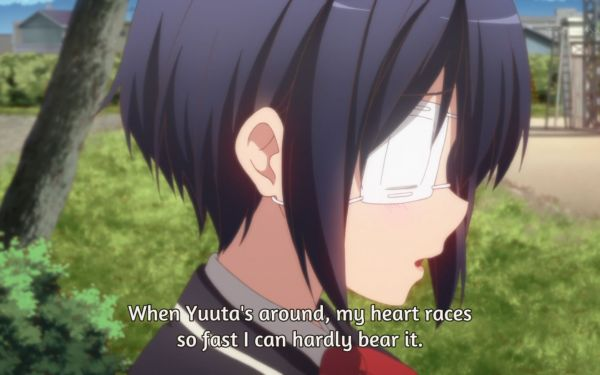 Screenshot anime Chuunibyou (Rikka Takanashi is worried)