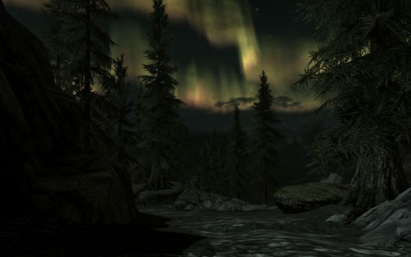 Screenshot from the game Skyrim, showing a bright aurora at night.
