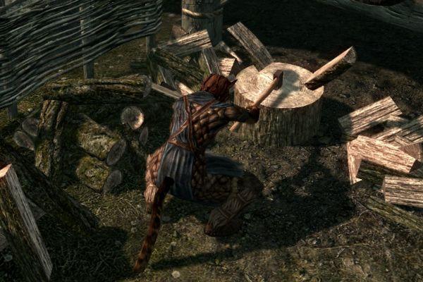 Skyrim - Khajiit chopping wood