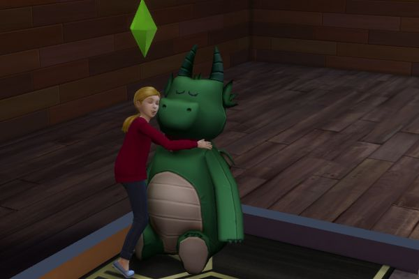 Screenshot Sims 3, child hugging plush toy