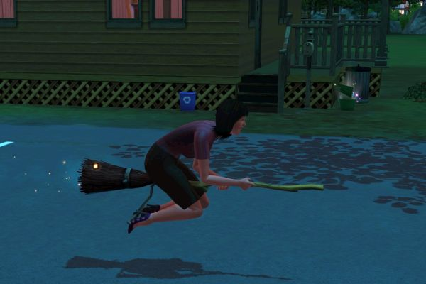 Screenshot Sims 3 Supernatural (witch on broom)