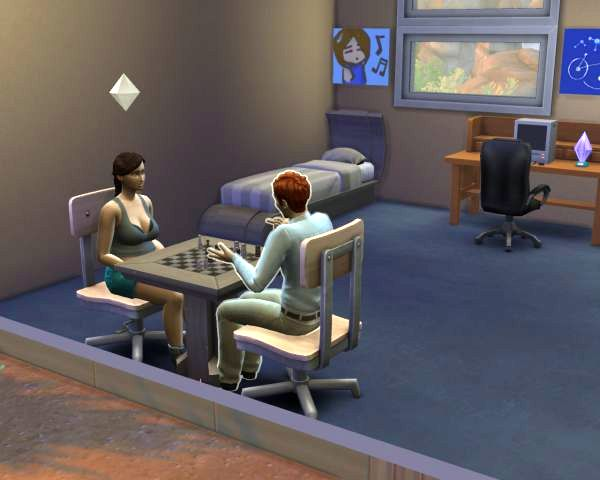 Screenshot sims 4, two sims playing chess and talking