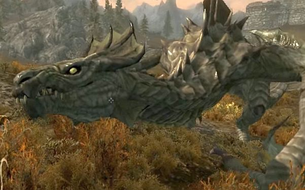 Dragon from video game Skyrim